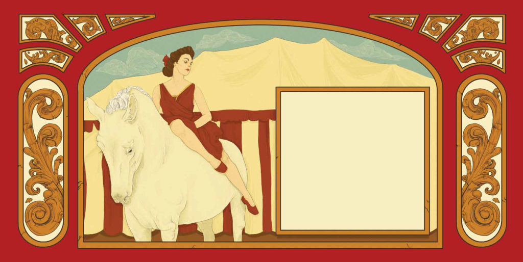 Woman in a red dress sitting on a white horse